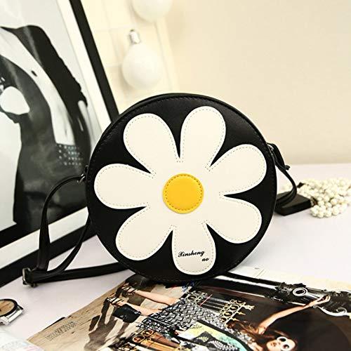 dacec6aaa837 PETUNIA Small Size Round Shape Sunflower Women Soft PU Leather Chest Bag  Messenger Bag - Black