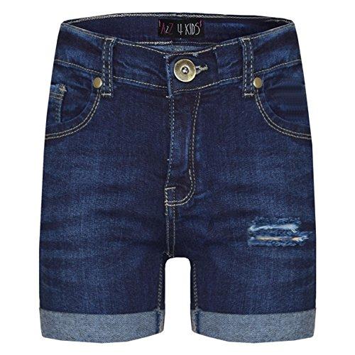 A2Z 4 Kids® Kinder Shorts Mädchen Jungen Denim Zerrissene - Shorts Denim Ripped Dark Blue 11-12 - Mädchen Bermuda Jean Short