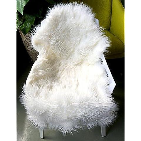 livebox decorativa almohadilla para silla (Cubierta de asiento de lujo de piel de imitación Plain Shaggy lana natural Supersoft Trow Floor Mat Alfombra de área de alfombra de pelo extra largo, color blanco, blanco marfil, 60x110cm