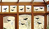 12 Vogel Aufkleber - Vögel Fenster Glas Greifvogel Fensterbild B416 (schwarz)
