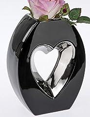 Idea Regalo - Formano - Vaso a Forma di Cuore, 20 cm, Colore: Argento/Nero
