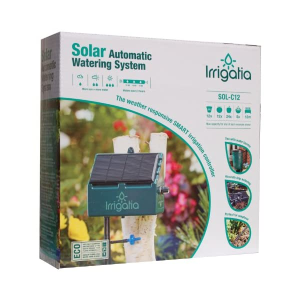 Irrigatia SOL-C12 Unique Solar Powered Weather Responsive Automatic Watering System, Green, 7 x 24 x 24 cm