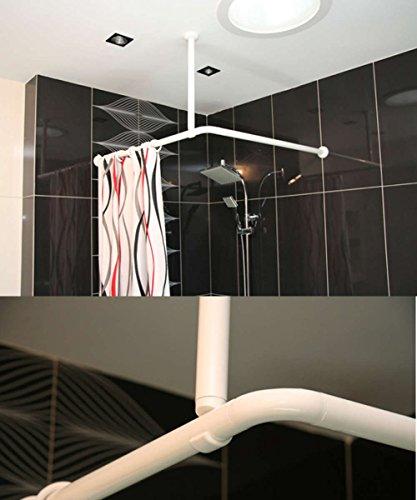 Bianco Supporto A Soffitto Per Tenda Doccia 55cm Lunghezza asta ad angolo bagno può essere tagliato a misura