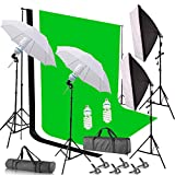 SAILUN® Profi Fotostudio Set Hintergrundsystem Hintergrund 2,8 x 1,8m Hintergrundstoff (Weiß Grün Schwarz) Stativset Hintergrund Stoff Studioset