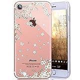 Coque iPhone 8 Plus,Coque iPhone 7 Plus,Surakey Motif Sakura blanc Fleurs de cerisier Souple Housse Étui Transparente Coque de Protection TPU Bumper Case Cover pour iPhone 8 Plus/7 Plus