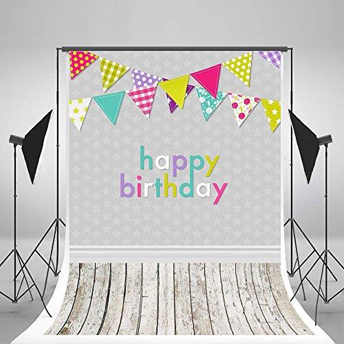 Viola chiaro 1,5x 2,1m fondale fotografico di carta da parati Happy Birthday fondali bianco pavimenti in legno per neonati foto sfondo... - Compleanno Banner Misure