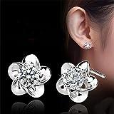 Banggood 1Pair Womens Silver Platinum Plated Flower Ear Stud Earrings