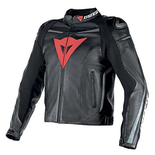 Dainese-SUPER FAST PERF Giacca da moto in pelle, Nero/Nero/Antracite, Taglia 58
