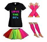 LADIES NEON 80S TSHIRT FANCY DRESS WITH TUTU SKIRT LEG WARMERS & FISHNET GLOVES - PARTY RAVE SUMMER FESTIVAL (16, Rainbow)