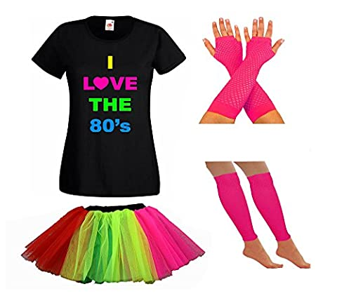 LADIES NEON 80S TSHIRT FANCY DRESS WITH TUTU SKIRT LEG WARMERS & FISHNET GLOVES - PARTY RAVE SUMMER FESTIVAL (14, Rainbow)