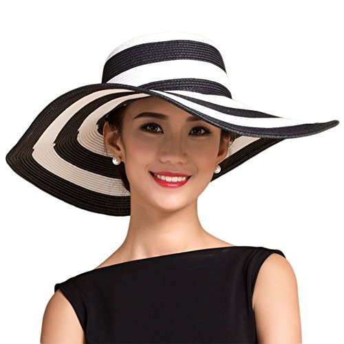 Leisial Damen Sonnenhut Koreanische Art Strohhut Breite Krempe Strand Hüte Anti-UV-Hut,Klassisch Streifen Schwarz +weiß Schwarze Große Krempe Hut Frauen