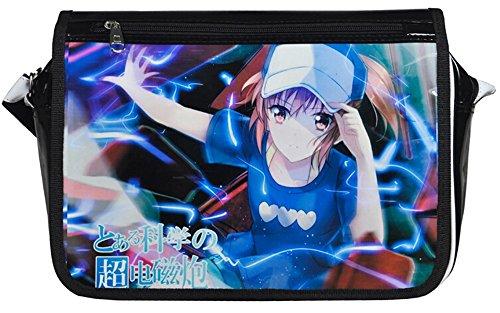 Siawasey anime giapponese Cartoon Cosplay messenger bag zaino borsa a tracolla (31modelli) nero Gintama Misaka Mikoto