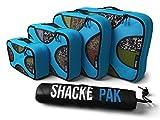 Shacke Packung - Packwürfel 4er Set - Reiseorganisierer Mit Wäschebeutel (Aquamarin)