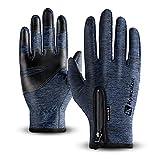 T98 Touchscreen Handschuhe, Fahrradhandschuhe Laufhandschuhe Winter Warme Sporthandschuhe Herren Damen Winddicht Wasserdichter Winterhandschuhe für Radfahren, Wandern, Skifahren (Blue, M)