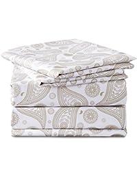 BEDSURE Bettlaken ohne Gummizug Weiß/Beige Paisley Muster 230x260cm 3 tlg Mikrofaser Betttuch Set für Bett mit Kissenbezüge