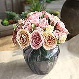 Artificial Flowers,FakeFlowers Silk 9 Heads Plastic Ranunculus Asiaticus Wedding Bouquet Flower Arrangement for Home Decor Party Centerpieces Decoration (Pink Champagne)