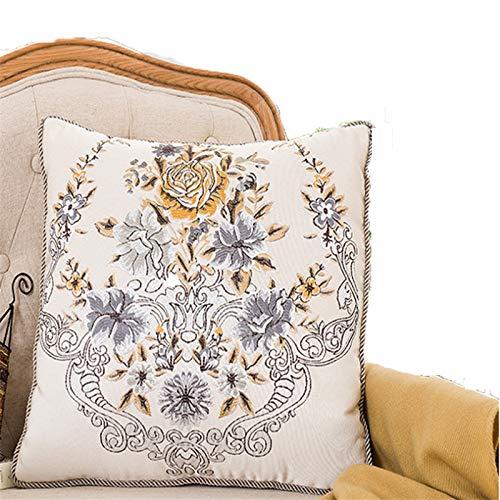 Klassische kreuzstich stoff kissen sofa auto kissen high-end büro stickerei kissenbezug mit kern frühling warme blume offen 45 * 45 kern -