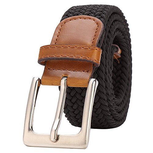 BISON DENIM Braided Stretch Belt Fabric Woven Belts Casual Weave Elastic Belt for Men and Women Genuine Leather Loop Waistband (Leather Black Belt Woven)