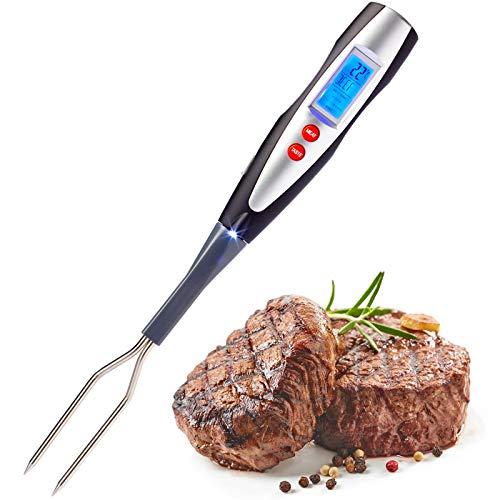 Westmark Grill-/Fleischgabel mit integriertem Thermometer, 38,5 cm, LED-Display und Taschenlampe, Rostfreier Edelstahl/Kunststoff, Silber/Schwarz/Rot, 15042280
