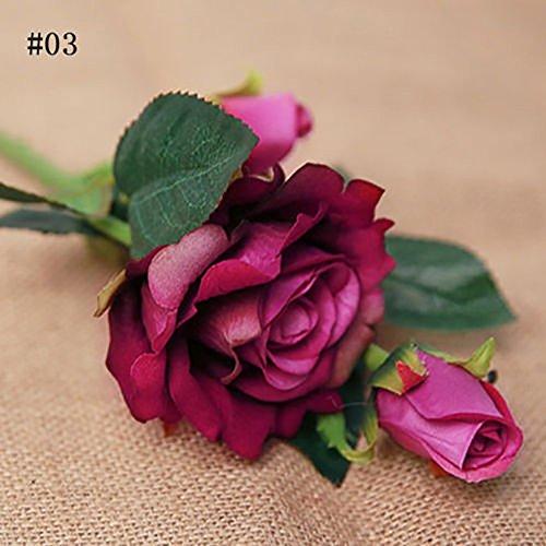 Lavendel Blumen Bulk (qiwounve 1 Stück Künstliche Romantische Rose Stoff Gefälschte Blume für Hochzeit Home Party Office Innendekoration Lavendel)
