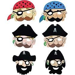 Máscara de espuma de piratas, 6 ud.