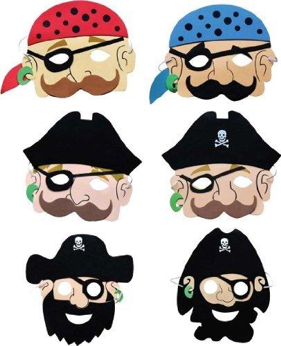 Partyrama Lot de 12 Masques de Pirate en Mousse