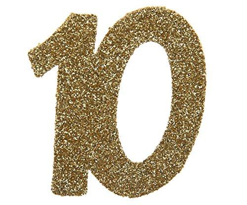 SANTEX 4604-10, Sachet de 6 confettis 6x5cm anniversaire, Or pailleté 10 ans