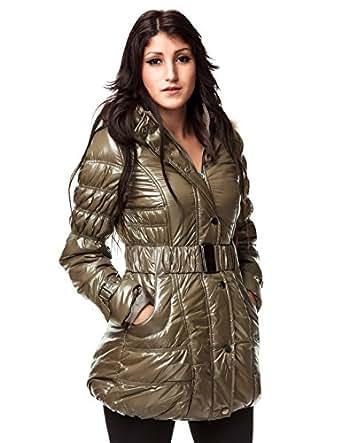24brands - Damen Winterjacke Winter Jacken Mantel Mäntel Glanzjacke Steppmantel Steppjacke - 2370, Größe:36;Farbe:Khaki