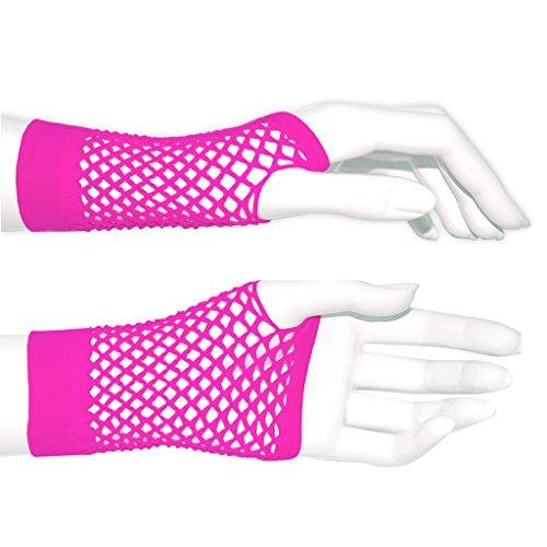 adam & eesa Fischnetz Handschuhe in pink perfekt für Fasching!