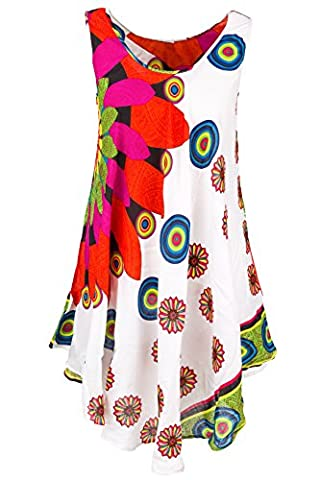 Sommerkleid Multicolor Strandlkleid in Glockenform Modell1501-Ecru-Koralle passend 44 bis