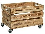 Kistenkolli Altes Land Neue Stabile Obstkiste mit Rollen/Stiege, Apfelkiste, Weinkiste aus Dem Alten Land +++ Natur Maße ca. 54x35x35 cm (Geflammt mit Rollen)