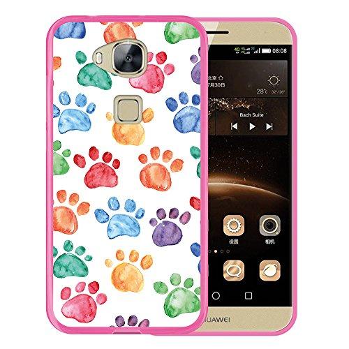 Funda Huawei GX8 / G8, WoowCase [ Huawei GX8 / G8 ] Funda Silicona Gel Flexible Huellas Perro, Carcasa Case TPU Silicona - Rosa