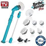Genius Turbo Scrub PRO | Elektrische Universal-Reinigungsbürste | 10 Teile | inkl. Bürsten-Aufsätze | 430 UpM | Küche | Bad | Haushalt | 3000 Reinigungs-Borsten | Bekannt aus TV | NEU