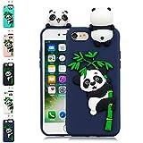 LA-Otter Coque iPhone 7 Plus 8 Plus Bleu Foncé Panda Ultra Fine Slim Mince Silicone...