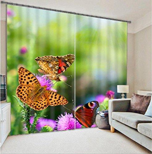 Vorhänge Polyester 3D Meerblick Strand Hängematten Schmetterling Druck Landschaft Schlafzimmer Dekor Blackout Lärm Verringerung Warm Schutz Fenster Vorhänge , wide 2.64x high 2.13 (Pleated Cotton Shorts)
