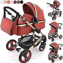 Daliya Bambimo 3 in 1 Kinderwagen - Kombikinderwagen Riesenset 14-Teilig incl. Babywanne & Buggy & Auto-Babyschale - Alu-Rahmen/Voll-Gummireifen - Wickeltasche/Regenschutz/Kindertisch in Elegance-Rot