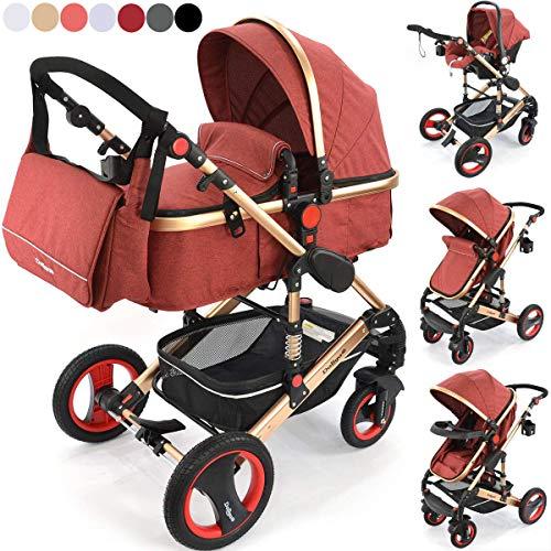 3 in1 Kinderwagen Kombikinderwagen Bambimo/Buggy & Babyschale Farben Elegance-Rot incl. Wickeltasche - Regenschutz - Ablage Tisch.