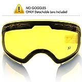 Skibrille Linse,COPOZZ G1 Ski Snowboard Brille Brillenträger Schneebrille Snowboardbrille Verspiegelt - Nur Gelb Linse - Doppel-Objektiv UV-Schutz Anti-Fog - Für Schlechtwetter