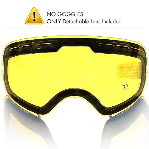 Skibrille Linse,COPOZZ G1 Ski Snowboard Brille Brillenträger Schneebrille Snowboardbrille Verspiegelt - Nur Gelb Linse - Doppel-Objektiv UV-Schutz Anti-Fog - Für Schlechtwetter - G1 Auge