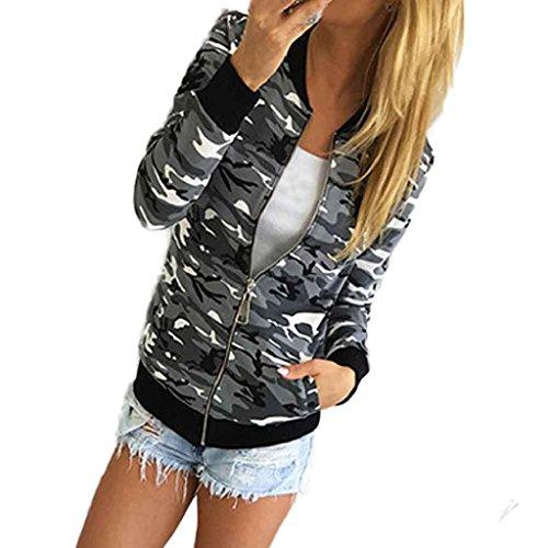 Internet Damen Tarnung Casual Herbst Winter Street Jacke (M, grau)