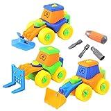 Dibang 3Pcs Schraubenspiel Montage Baufahrzeuge Spielzeug Set Wagen ab 3 jahren jungen Auto Pädagogisches Spielzeug