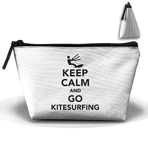 Borsa da toilette da viaggio portatile trapezoidale Keep Calm Go Kitesurfing Cosmetic Bags Pochette multifunzione