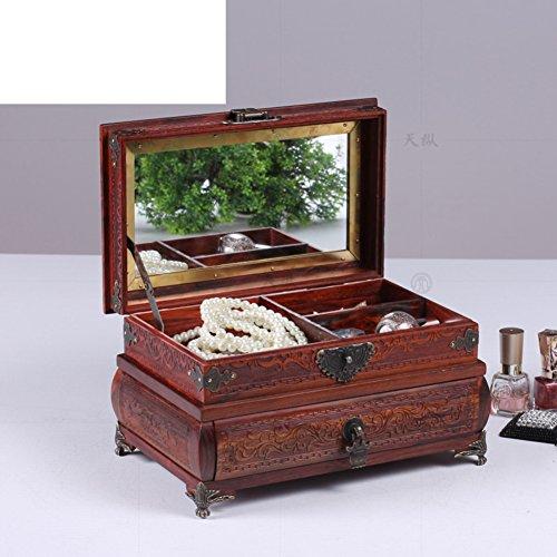 Laos-rote Palisander-Schmuck-Box Äußere Quadrat Spiegel Feld allein Holz Holzschmuck Dressing-Box solide Holz Schmuck-Box Schmuckkästchen-B -