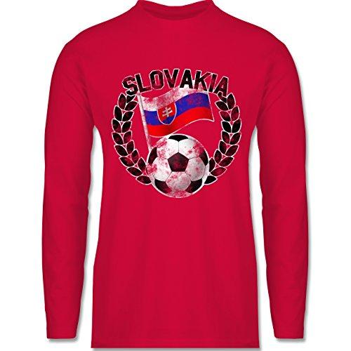 Shirtracer Fußball - Slovakia Flagge & Fußball Vintage - Herren Langarmshirt Rot