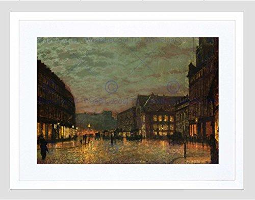 JOHN ATKINSON GRIMSHAW BOAR LANE LEEDS LAMPLIGHT 1881 FRAMED ART PRINT B12X678