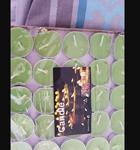 Cdet 50X Aroma Vela perfumado Perfume Vela Cera té Luces romántico Vela sin Humo,Verde