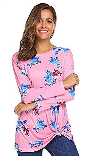 JOTHIN 2018 Autunno Invernali Eleganti Bluse Floreali Girocollo Top Maniche Lunghe Magliette Irregolare Fashion T-Shirt Donna Rosa