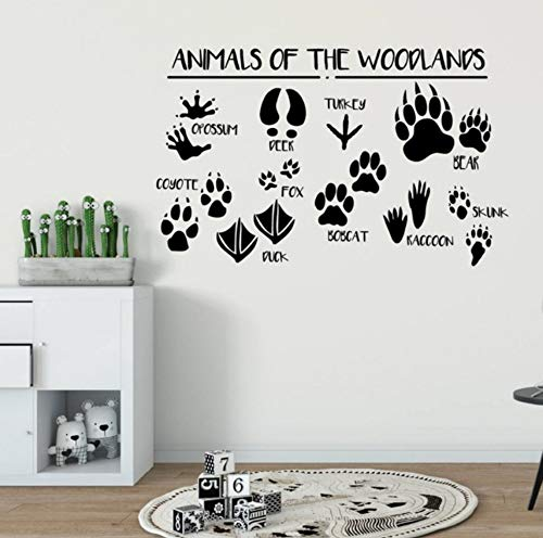 Woodland Wall Stickers Forest Animals Vinyl Wall Decal Kids Room Nursery Decor Removable Animal Paws Print Wall Mural 68x42cm