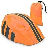 kwmobile Funda para Casco de Bicicleta - Protector para Casco de Bicicleta - Cubierta Resistente al Agua Unisex - Visibilidad en Anaranjado neón