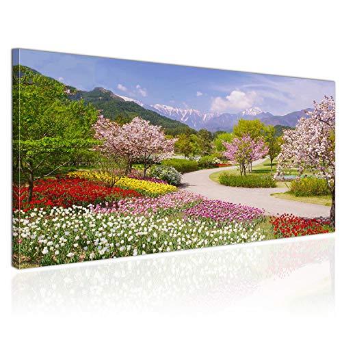 Topquadro XXL Wandbild, Leinwandbild 100x50cm, Garten in den Alpen, Bäume Blumen und Berge -...
